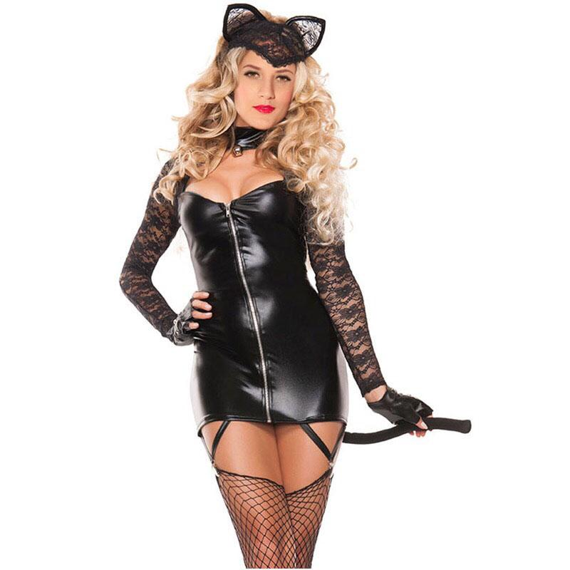 Women's Sexy Catwoman Black Zip Up PVC Lace Mini Dress 2 PCS Set Cosplay With Ear & Tail - icu-sexy