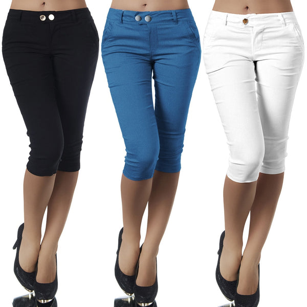 Women's Fashion Solid Color Skinny Calf Length Capris - ICU SEXY