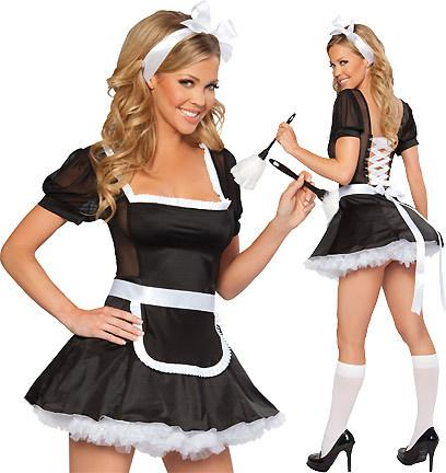 Women's Cap Sleeved French Maid Costume - icu-sexy
