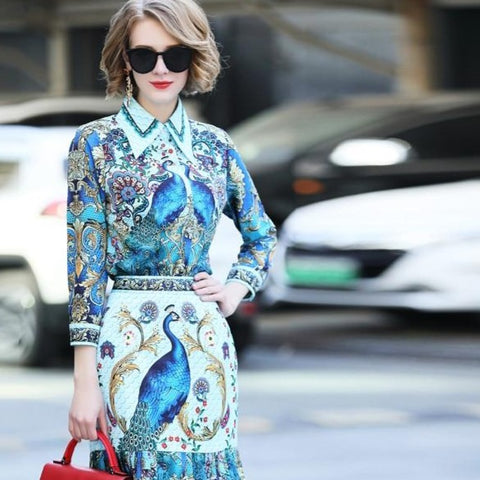 Runway Vintage Skirt Suit Peacock Floral Print Blouse + Mermaid Half Skirt - icu-sexy