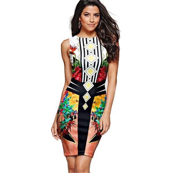 Women's High Fashion Vintage Style Pencil Dress - icu-sexy