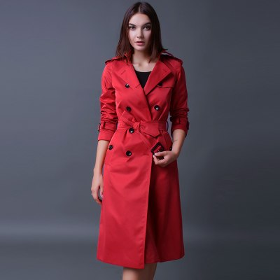 Women's Luxury Brand Double Breasted Red Trench Coat Plus Sizes