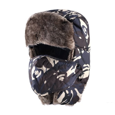 Women's Camouflage Russian Fur Lined Bomber Hat - ICU SEXY