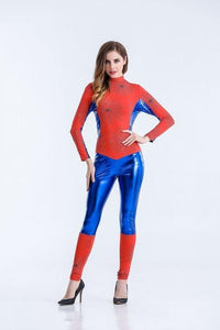 Womens Spiderman Costume Superhero Cosplay Jumpsuit - icu-sexy