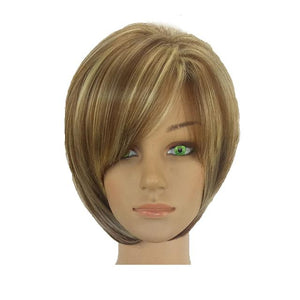 Synthetic Hair Wig Bob Haircut Pixie Style with Bangs Blonde Brown - icu-sexy