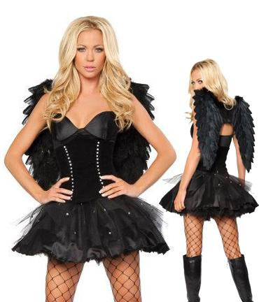Black Dark Angel Costume With Wings