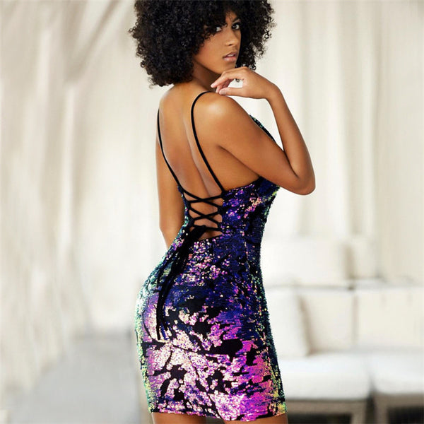 Super Hot Spaghetti Strap Lace Up Backless Sequin Bandage Dress
