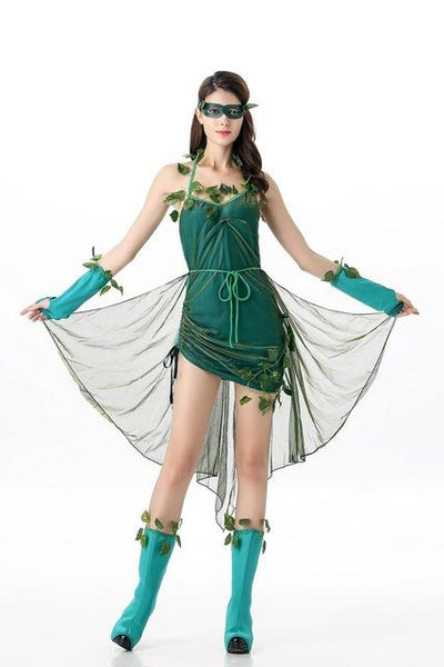 Green Poison Ivy Costume Batman Harley Quinn Joker Clown Cosplay Fancy Dress - icu-sexy