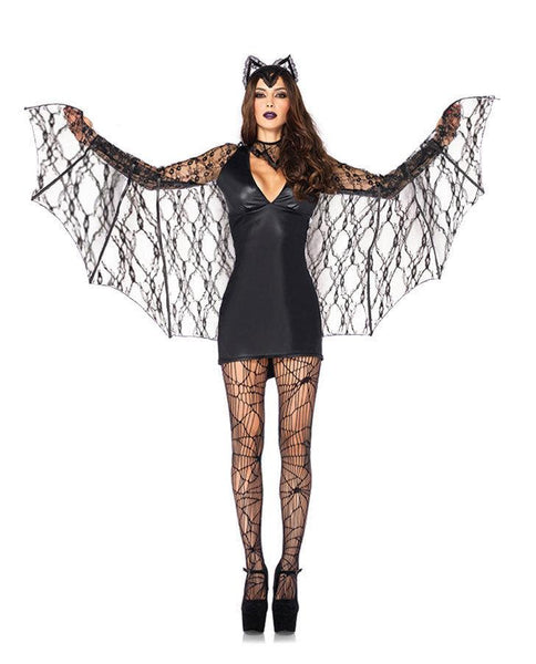 Sexy Black Vampire Cosplay Fancy Dress Mini Dress With Lace Wings - ICU SEXY