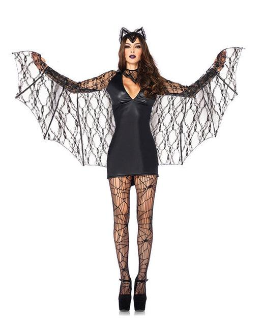 Sexy Black Vampire Cosplay Fancy Dress Mini Dress With Lace Wings - icu-sexy