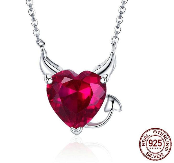 "New  Silver ""Devil's Heart"" Pendant Necklace - ICU SEXY"