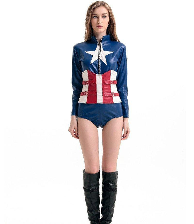 Faux Leather Adult Captain America Costume Superhero Cosplay - icu-sexy