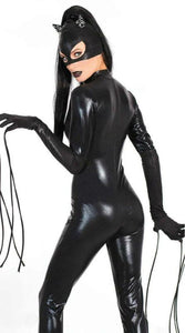 3 Pcs Sexy Catwoman Black Faux Leather Costume
