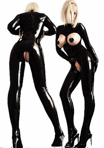 Catwoman PVC Jumpsuit Bondady Catsuit with Open Crotch - icu-sexy