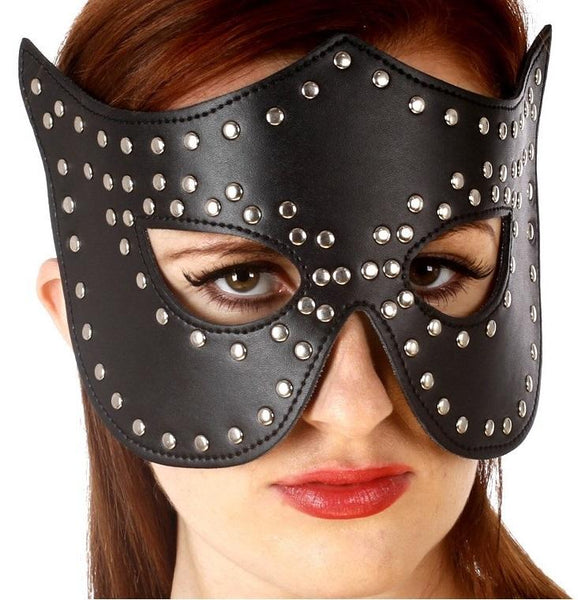 Fetish Studded Leather Catwoman Masquerade Face Mask - icu-sexy