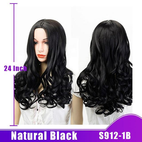 Heat Resistant Long Wave Natural Black Wig - icu-sexy
