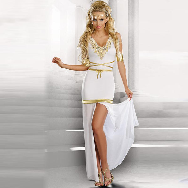 Greek Goddess Deep V-neck Short Sleeve Split Lace White Halloween Costume - icu-sexy
