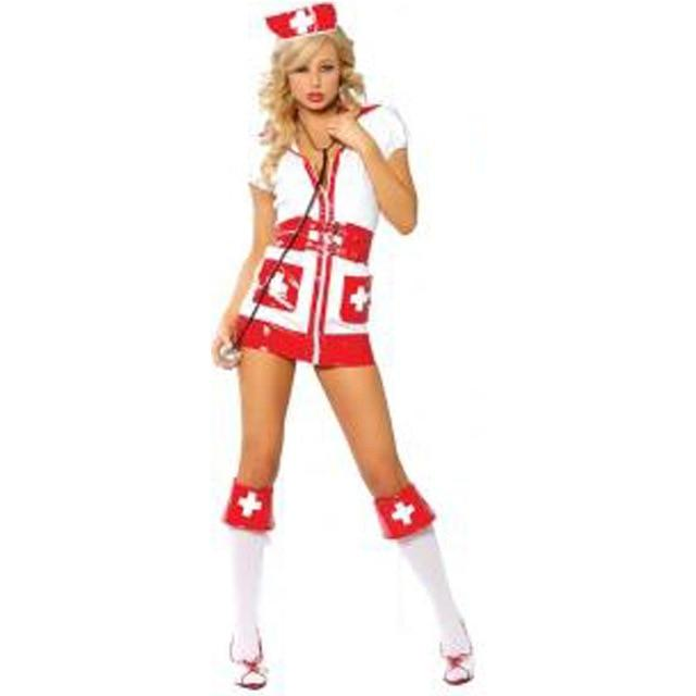 Women's Sexy White and Red Nurse Cosplay Fancy Dress Sexy - icu-sexy