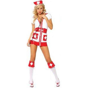 Women's Sexy White and Red Nurse Cosplay Fancy Dress Sexy - ICU SEXY