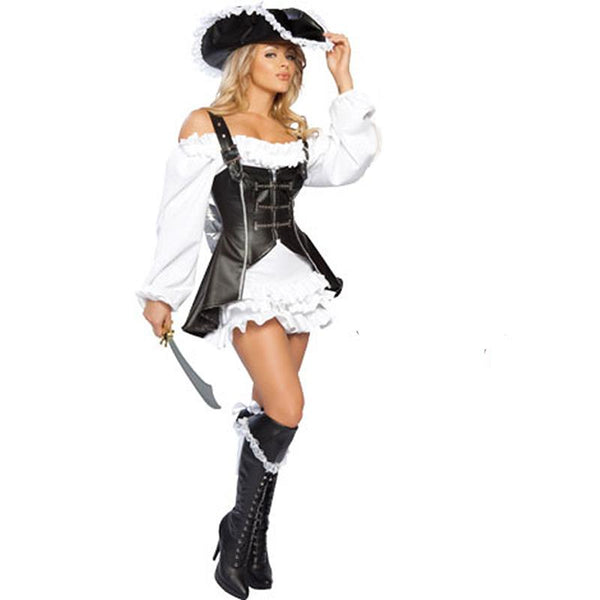 Women's Leatherette Pirate Bandat Party Costume - icu-sexy