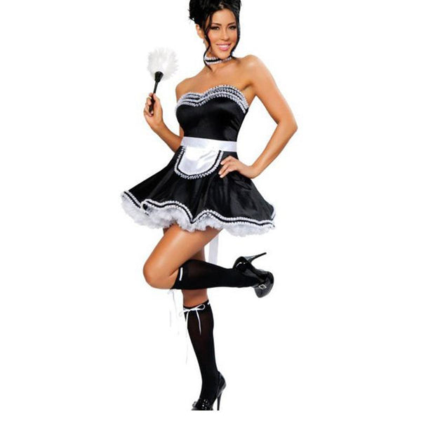 Cute Strapless Lace Trim Adult French Maid Costume - icu-sexy