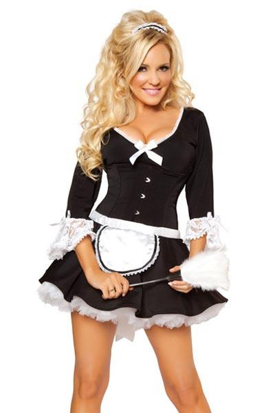 Hot Deluxe Lace French Maid Costume - icu-sexy