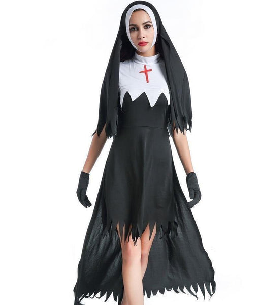 Adult Black Hooded Nun Long Costume Dress