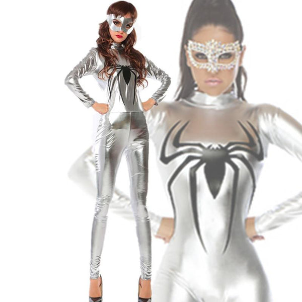 Super Spider Silver Leatherette Jumpsuit Costume - ICU SEXY