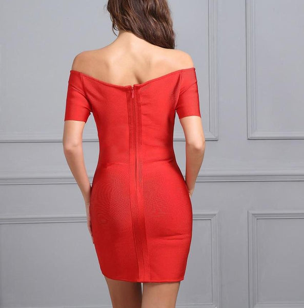 New Women's Red Strapless Split Elegant Evening Party Dresses - ICU SEXY