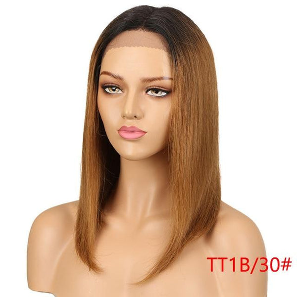 Sleek Brazilian Remy Straight Front Hair Wig With Plucked Front Hairline - icu-sexy