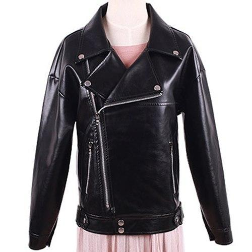 -Autumn Motorcycle Jacket For Women's Black Turn down Collar
