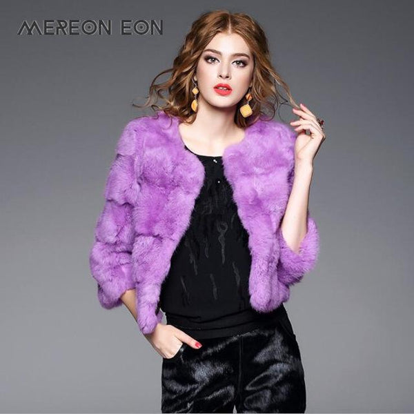 New Women's Fashion Real Rabbit Fur Coat in 9 Colors - ICU SEXY