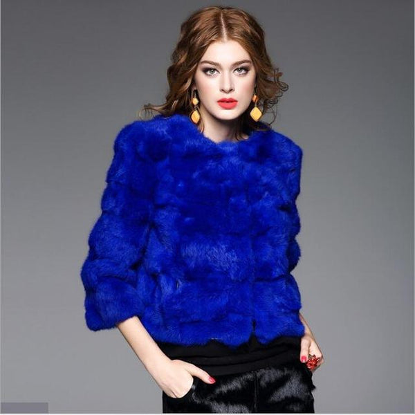 New Women's Fashion Real Rabbit Fur Coat in 9 Colors
