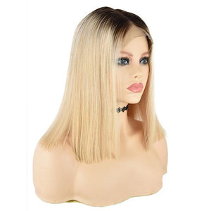 Blonde Color Brazilian Remy Human Hair Front Lace Wig With Baby Hair - icu-sexy