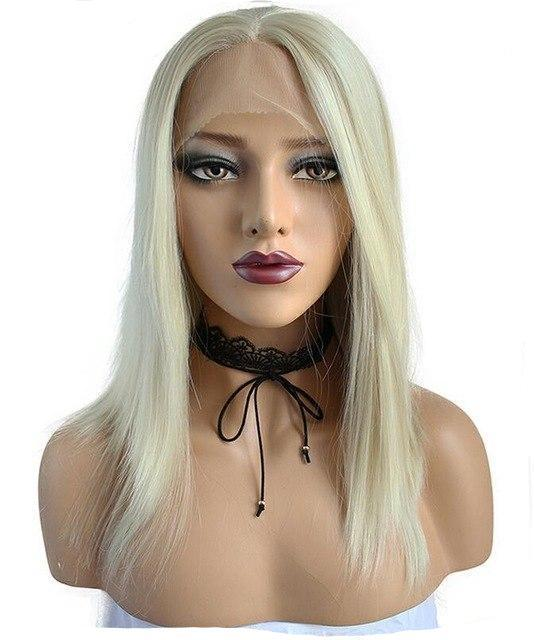 High Temperature Fiber 360 Frontal Platinum Blonde Wig F - icu-sexy
