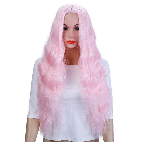 Long Wavy Hair Wig Heat Resistant Synthetic Wig With Middle Hair Part - ICU SEXY