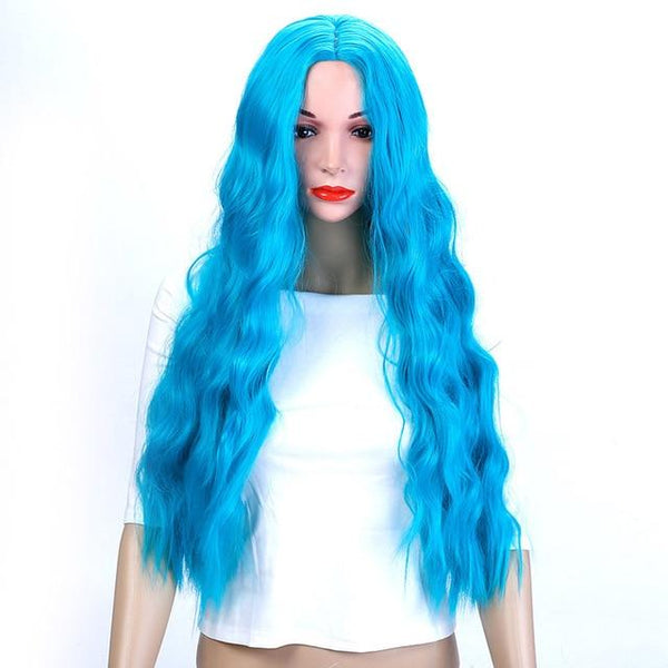 Long Wavy Hair Wig Heat Resistant Synthetic Wig With Middle Hair Part - icu-sexy