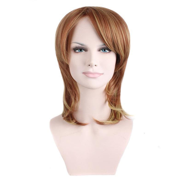 Mixed Auburn Color Short Layered Heat Resistant Synthetic Hair Wig - icu-sexy