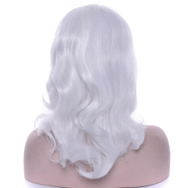 Women's White Wavy High Temperature Fiber Synthetic Wig - icu-sexy
