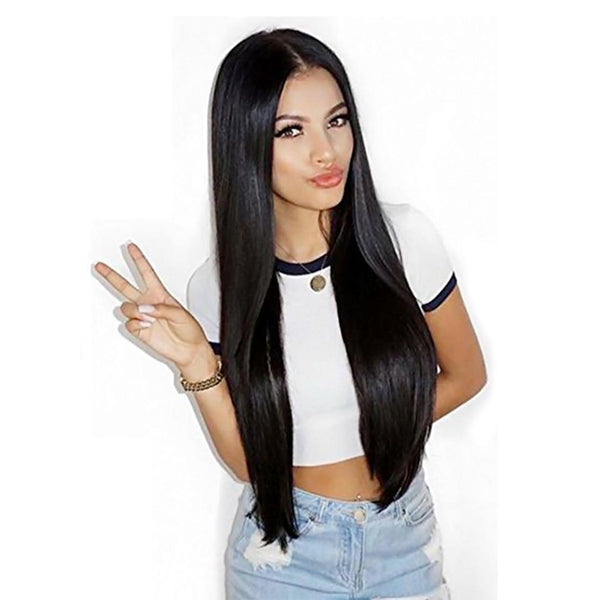 Long Straight Black Hair Wig Heat Resistant Synthetic With Middle Hair Part Wigs - icu-sexy