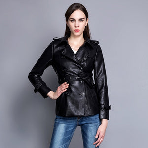 Women's Double Breasted Leatherette Slim Jacket - ICU SEXY
