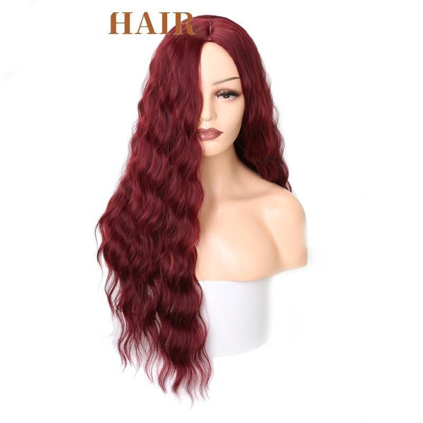 Long Water Wave Hairstyle In Red Black Color High Temperature Fiber Wig - ICU SEXY