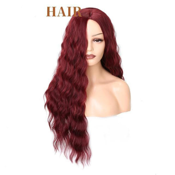 Long Water Wave Hairstyle In Red Black Color High Temperature Fiber Wig - icu-sexy
