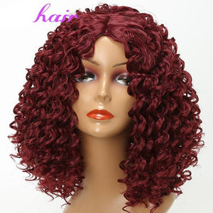 Short Curly High Eggplant Color High Tempreture Synthetic Wig - icu-sexy