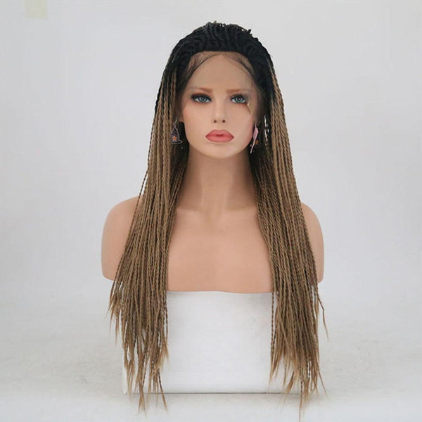 Natural Brown Box Braided Synthetic Lace Front Ombre Wig With Baby Hair - ICU SEXY