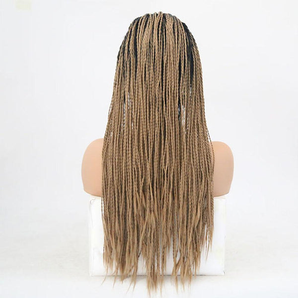 Natural Brown Box Braided Synthetic Lace Front Ombre Wig With Baby Hair - icu-sexy
