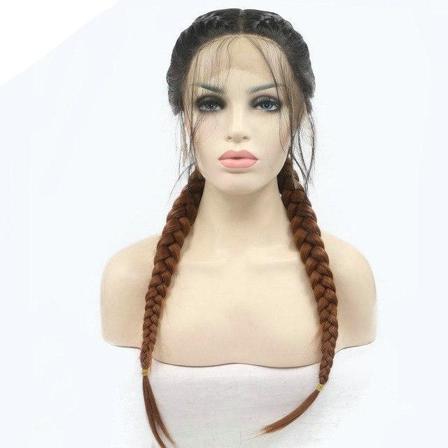 Natural Brown Two Tone French Braided Heat Resistant Lace Front Wig With Baby Hair - icu-sexy