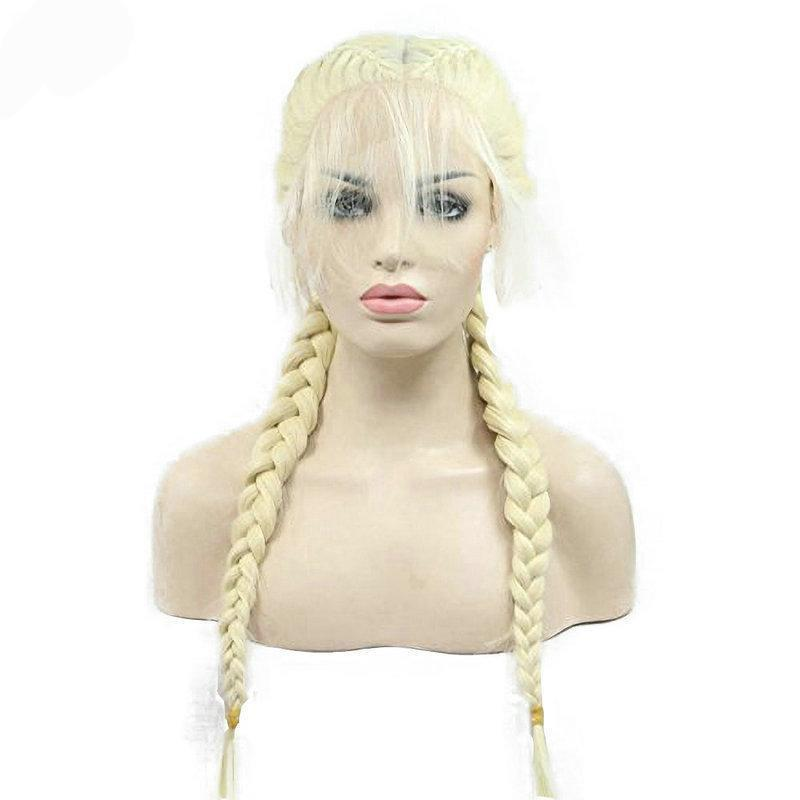 Double Braided Natural Platinum Blonde Braided Synthetic Lace Front Wig With Baby Hair - icu-sexy