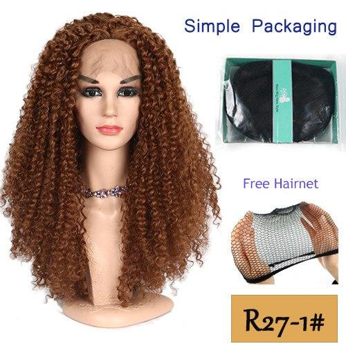 26 Inch Lace Front Wig Long Kinky Curly Stylish Wigs in 4 Colors 130% Density