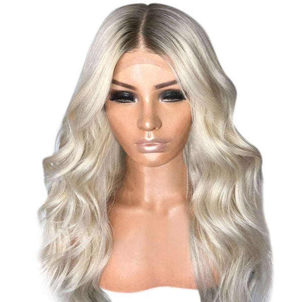 Gradient Mixed Blonde Synthetic Wig Wave High Temperature Fiber Hair Wig - icu-sexy